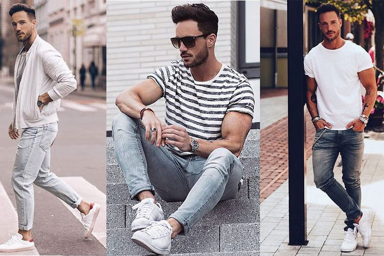 Sneakers putih dengan jeans