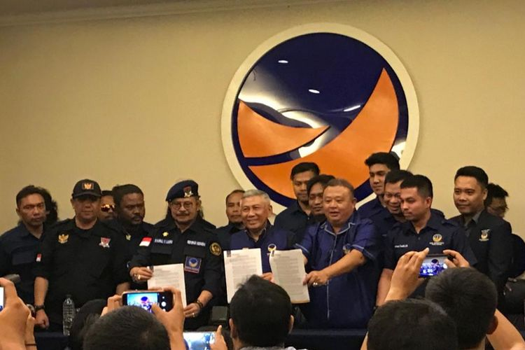 Konferensi pers Partai Nasdem untuk menyikapi tuduhan Rizal Ramli di Kantor DPP Nasdem, Jakarta Pusat, Selasa (11/9/2018). (KOMPAS.com/Devina Halim)