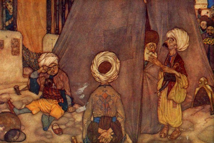 Gambar ilustrasi kisah Ali Baba dalam Cerita 1001 Malam
