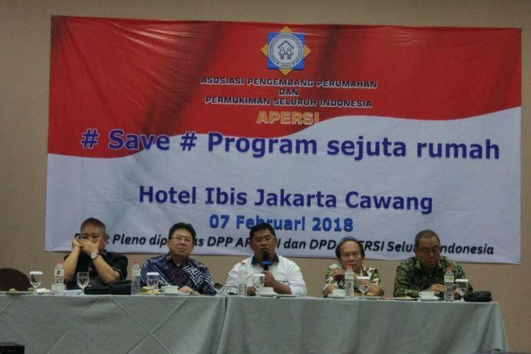 Asosiasi Perumahan dan Permukiman Seluruh Indonesia (Apersi) saat jumpa pers di Jakarta, Rabu (7/2/2018).