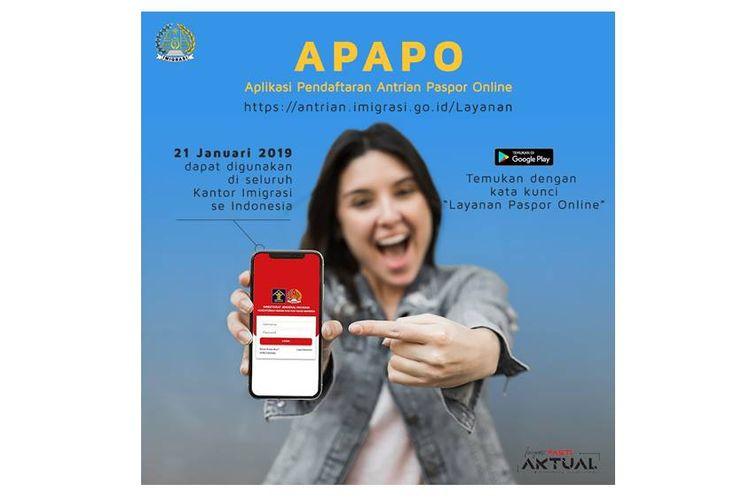 Ditjen Imigrasi RI merilis Aplikasi Pendaftaran Antrian Paspor Online (APAPO) pada Senin (21/1/2019).