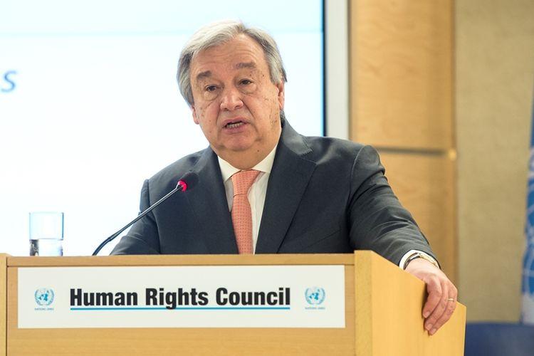 Sekjen PBB Antonio Guterres berbicara di hadapan Dewan Hak Asasi Manusia PBB dalam sidang ke-37 pada 26 Februari 2018 di Jenewa, Swiss.