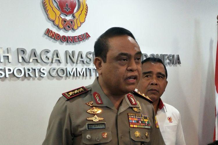 Ketua kontingen atau Chief de Mission (CdM) Indonesia pada ajang Asian Games 2018, Komisaris Jenderal (Pol) Syafruddin usai meninjau kesiapan pusat kendali operasional (Pusadalops) di kantor Komite Olahraga Nasional Indonesia (KONI), Jakarta Selatan, Senin (8/1/2018).
