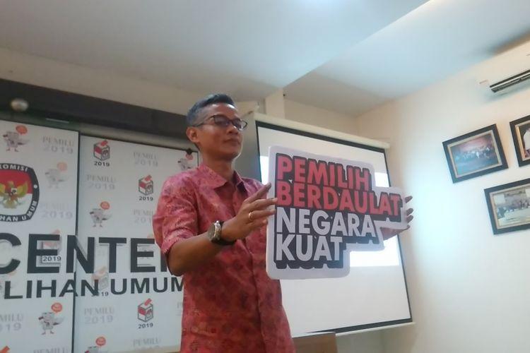 Komisioner Komisi Pemilihan Umum (KPU) Wahyu Setiawan, di Media Center Gedung KPU Pusat, Jl. Imam Bonjol, Jakarta, Jumat (27/10/2017).