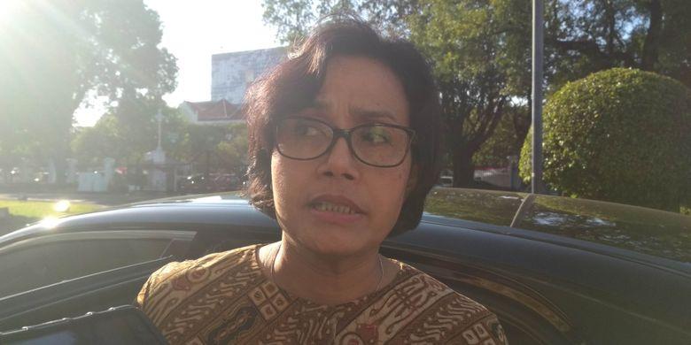Menteri Keuangan Sri Mulyani di Istana, Senin (28/8/2017).