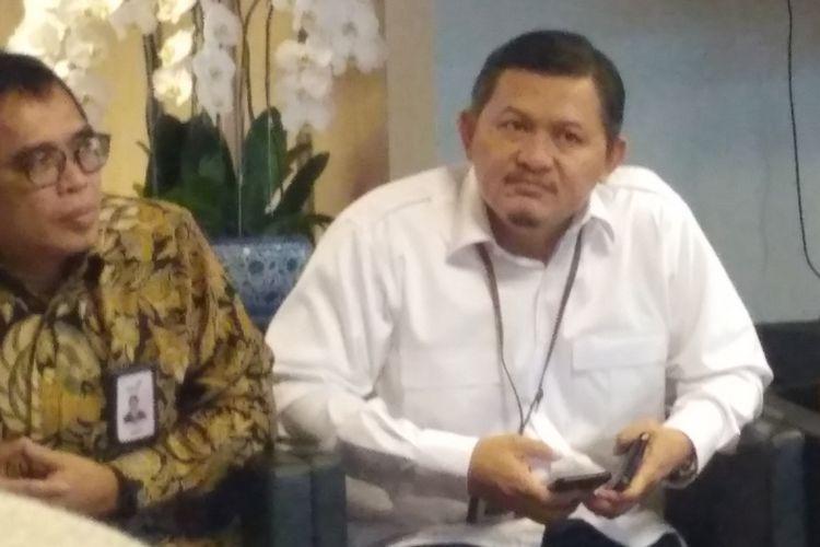 Direktur Utama PT Pertani Wahyu di kantor Kementerian BUMN, Jakarta, Senin (9/7/2018).