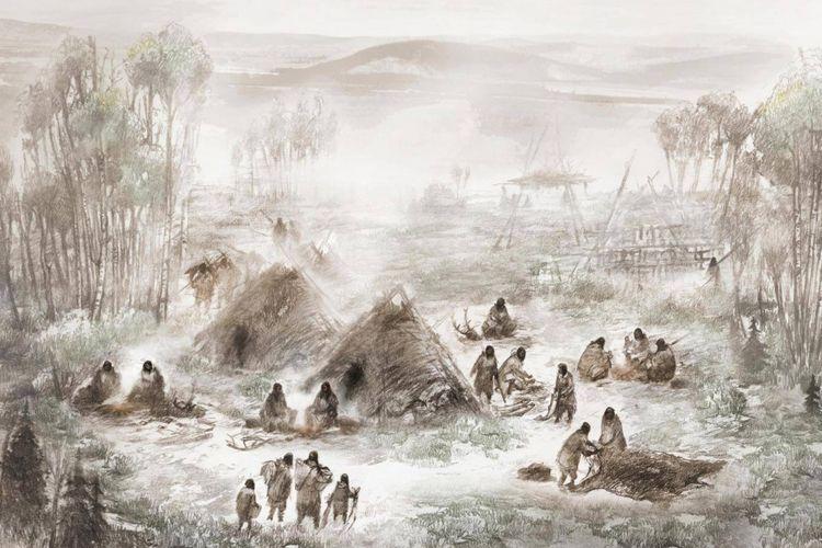 Ilustrasi ilmiah tentang kamp Sungai Sun Upward, tempat sisa-sisa anak purba ditemukan dan membuka pengetahuan siapa penduduk asli Amerika