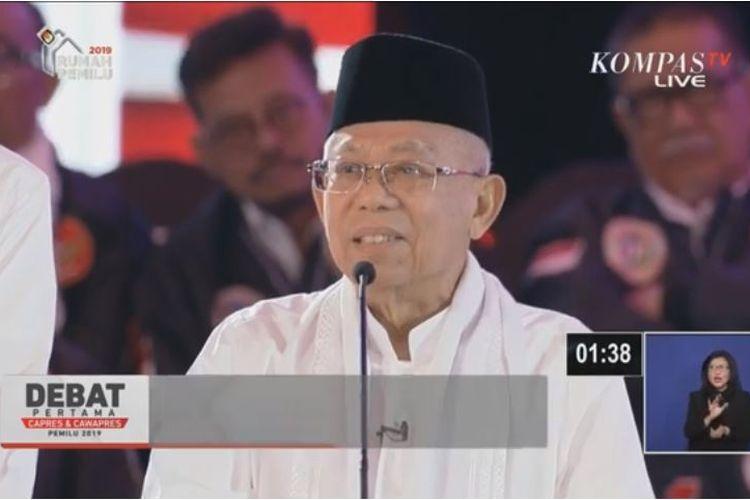 Maruf Amin dalam debat pertama saat menjawab pertanyaan moderator.