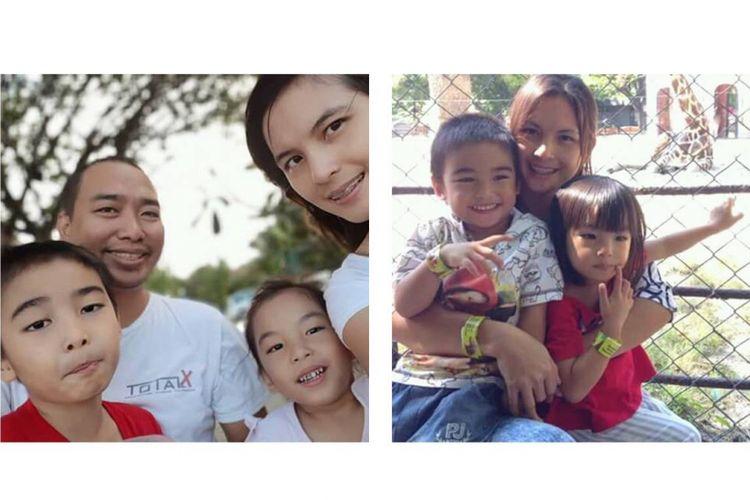 (Kiri) Bocah Israel Imanuel Limbara, korban gempa Palu yang mendadak tenar karena ngobrol dan dipeluk Jokowi yang berkunjung ke Sulawesi Tengah pasca-bencana gempa dan tsunami, bersama keluarganya. Sang ibu meninggal dunia terseret tsunami. (Kanan) Bocah Israel dan kembarannya, Kim, saat bersama ibunya, Feiby Sandra Wagiu.