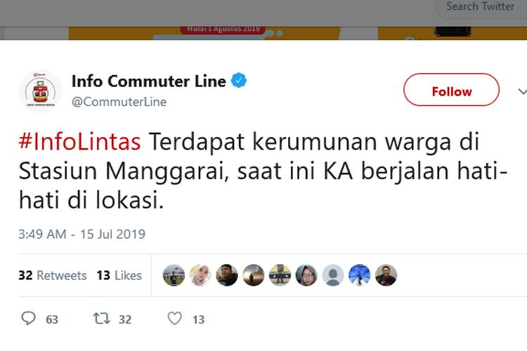 Informasi mengenai penyebab gangguan KRL menuju Stasiun Manggarai pada Senin (15/7/2019) pukul 17.17 WIB.