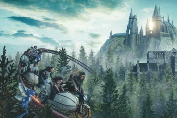 Ilustrasi Roller Coaster Hagrid yang akan Dibuka di Wizarding World of Harry Potter.