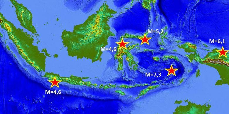 Peta gempa di Indonesia, Senin (24/06/2019)