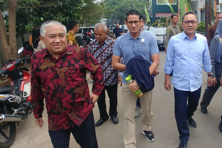 Bakal calon wakil presiden Sandiaga Uno menghadiri UKM Expo 2018 di Universitas Muhammadiyah, Jakarta, Rabu (29/8/2018).