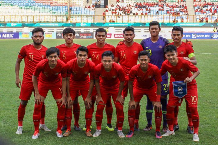 Starting eleven timnas U-19 Indonesia pada laga uji coba melawan timnas U-19 Arab Saudi di Stadion Wibawa Mukti, Rabu (10/10/2018).