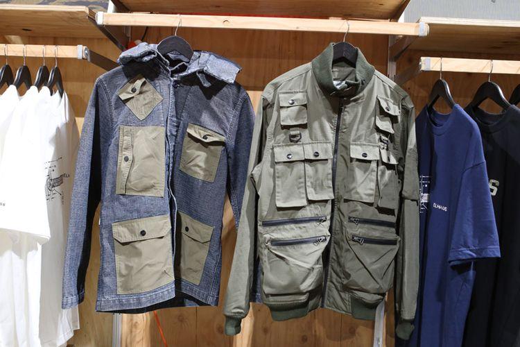 Desain jaket karya Elhaus yang kental dengan gaya militer dan pathwork berkantong banyak .