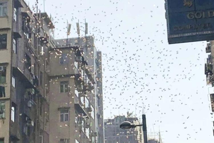 Tangkapan layar rekaman saat peristiwa hujan uang yang terjadi di Hong Kong pada Sabtu (15/12/2018).