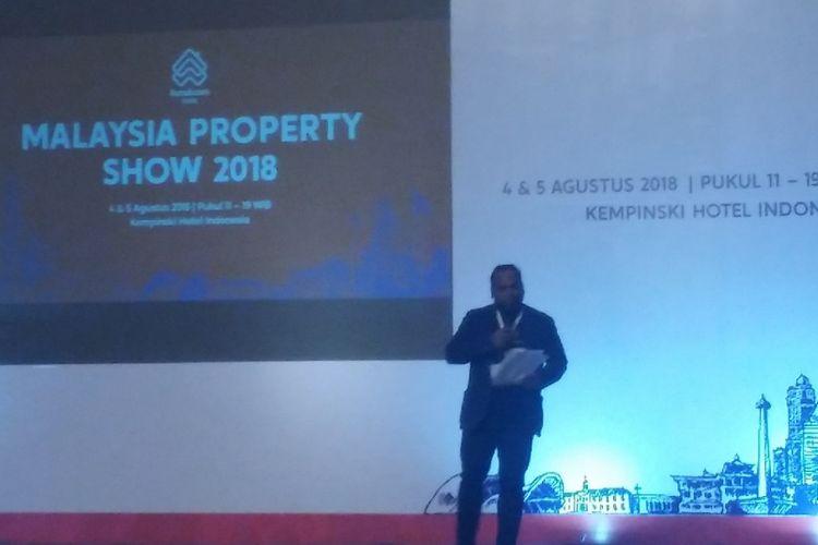 Country Manager PropertyGuru Malaysia Sheldon Fernandez saat pembukaan Malaysia Property Show 2018, Sabtu (4/8/2018) di Hotel Kempinski, Jakarta.