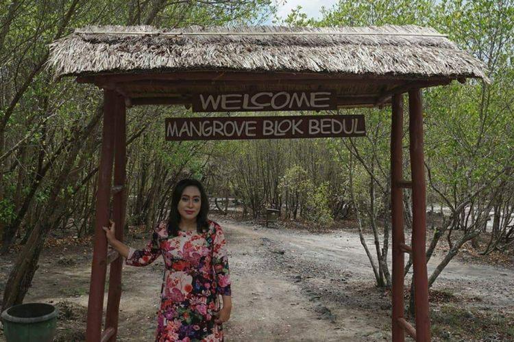Seorang wisatawan di destinasi wisata Bedul Banyuwangi, Jawa Timur, Rabu (8/11/2017).
