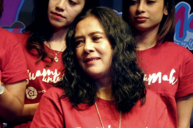 Artis peran Lydia Kandou dalam jumpa pers Suami untuk Mak di XXI Plaza Senayan, Selasa (12/9/2017).