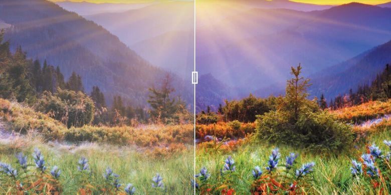 Perbedaan kualitas warna antara TV LED umum dan Hexachroma berkat adanya penajam, sekalipun sumber gambar punya setelan ruang warna standar. Warna TV Panasonic ini pun lebih kaya karena adanya penambahan warna cyan, magenta, yellow (CMY) di luar warna TV pada umumnya yang hanya red, green, dan blue (RGB).
