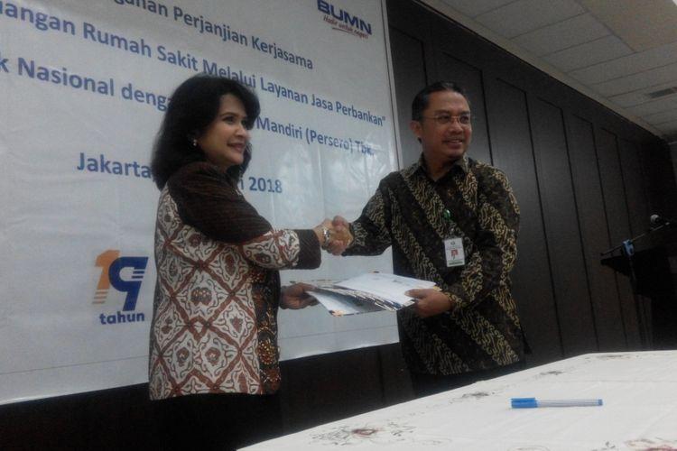 Penandatanganan perjanjian kerja sama PT Bank Mandiri (Persero) Tbk dengan RS Pusat Otak Nasional di Jakarta, Senin (8/1/2018).