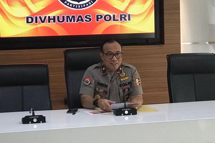 Kepala Biro Penerangan Masyarakat Polri Brigjen (Pol) Dedi Prasetyo saat konferensi pers di Gedung Humas Mabes Polri, Jakarta Selatan, Selasa (4/6/2019).