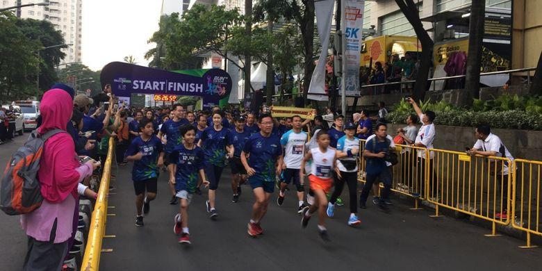 Run for Hope, ajang lari marathon sejauh 5 kilometer yang dilakukan untuk meningkatkan kesadaran masyarakat soal penyakit kanker serta memberikan dukungan kepada para pasien kanker yang diselenggarakan di Jakarta, Minggu (10/02/2019)