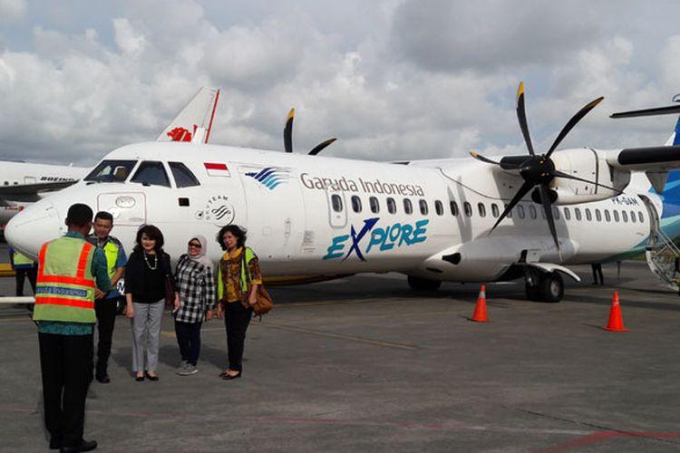 Pesawat ATR 72-600 Garuda Indonesia di Bandara Pattimura, Ambon, Maluku, Kamis (2/8/2018).