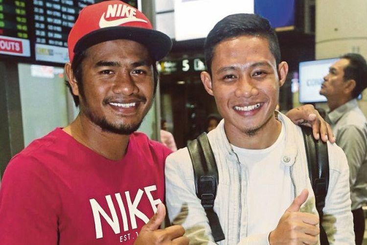 Ilham Udin Armaiyn dan Evan Dimas saat tiba di Kuala Lumpur, Malaysia, Jumat (5/1/2018)