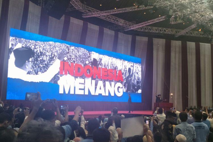 Calon presiden nomor urut 02 Prabowo Subianto saat menyampaikan pidato kebangsaan di Jakarta Convention Center (JCC), Senayan, Jakarta, Senin (14/1/2019).