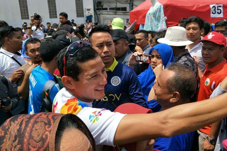 Wakil Gubernur DKI Jakarta Sandiaga Uno saat berkunjung ke Tanah Abang, Selasa (26/12/2017).