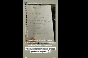 Unggahan Kartu Menu Tulis Tangan Kelas Bisnis Garuda yang Berujung Pelaporan ke Polisi