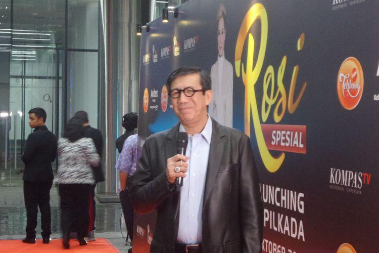Menkumham Yasonna Laoly saat mengahadiri peluncuran Rumah Pilkada di Menara Kompas, Palmerah, Jakarta Barat, Kamis (19/10/2017).