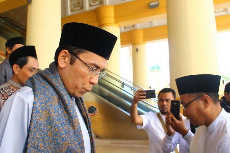 Tuan Guru Bajang (TGB), Gubernur NTB, seusai menyampaikan kajian di Masjid Hubbul Wathon Islamic Center Mataram, Jumat (6/7/2018).