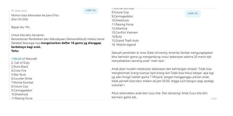 Isi pesan yang mengabarkan Kemendikbud merilis 16 daftar game berbahaya bagi anak-anak.