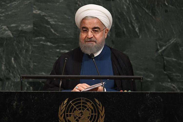 Presiden Iran Hassan Rouhani saat berbicara dalam sebuah forum PBB.