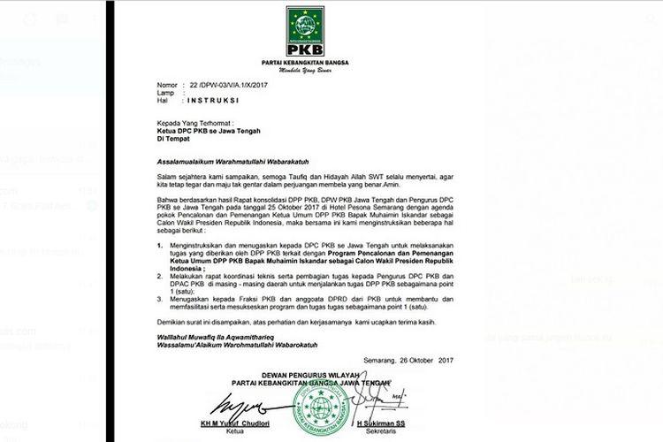 Surat Pkb Jateng Bocor Isinya Pemenangan Cak Imin Jadi