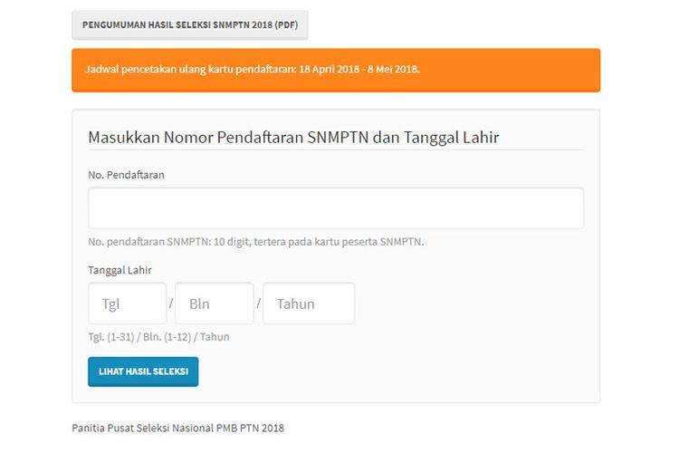 Hasil SNMPTN telah dapat diakses melalui laman resmi http://pengumuman.snmptn.ac.id/