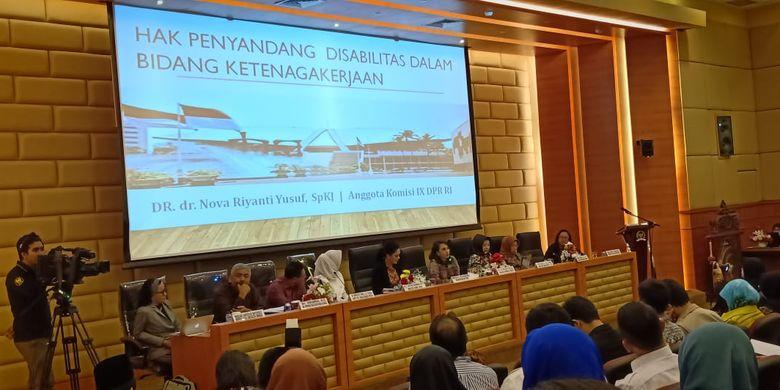 Diskusi publik bertema Pendekatan Gender dan Disabilitas dalam Legalisasi Bidang Ketenagakerjaan yang digelar di Gedung DPR, Jakarta (7/8/2019).