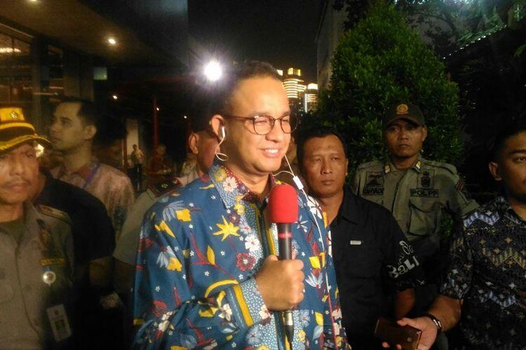 Gubernur DKI Jakarta Anies Baswedan di sela-sela acara Perayaan Natal Bersama Pemprov DKI di Hall B3 JIExpo, Kemayoran, Jakarta Pusat, Sabtu (13/1/2018).