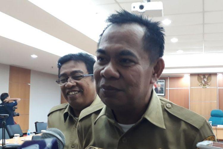 Kepala Dinas Koperasi, UMKM, dan Perdagangan DKI Jakarta Irwandi di Gedung DPRD DKI Jakarta, Selasa (9/1/2018).