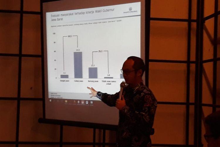 Direktur Eksekutif Lembaga Survei Charta Politika, Yunarto Wijaya saat memaparkan hasil survei terbaru Charta Politika, Kamis (7/6/2018).