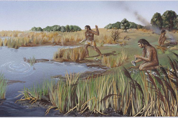 Homo Erectus, yang hidup dari 1,8 juta tahun lalu disebut sebagai manusia purba pertama yang menemukan bahasa dan menggunakannya untuk berburu dan membangun kapal yang digunakan sebagai sarana transportasi menjelajah pulau-pulau terpencil