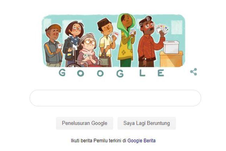 Ilustrasi Google Doodle versi Pemilu 2019