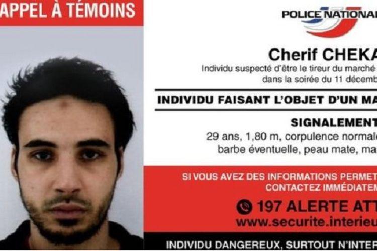 Foto Cherif Chekatt (29) terduga pelaku penembakan di pasar Natal Strasbourg, Selasa (11/12/2018).