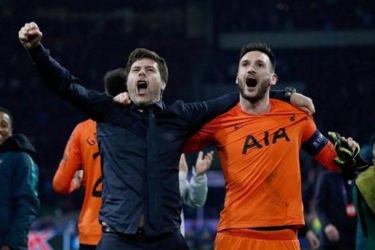 Pelatih Tottenham Hotspur, Mauricio Pochettino dan Hugo Lloris saat merayakan keberhasilan timnya lolos ke final Liga Champions.