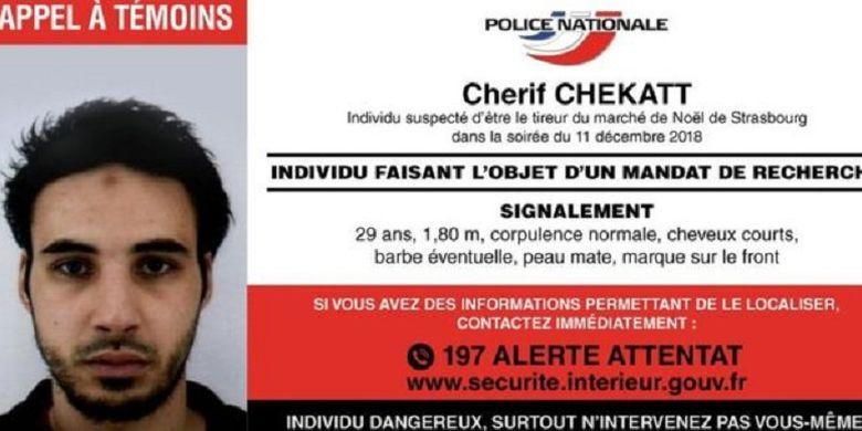 Cherif Chekatt, pelaku penembakan pasar Natal Strasbourg, Perancis, pada Selasa malam waktu setempat (11/12/2018).
