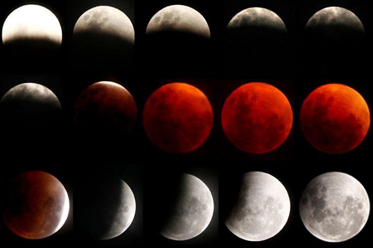 Foto kolase saat fase terjadinya fenomena gerhana bulan di Mamuju, Sulawesi Barat, Rabu (31/1/2018) malam. Fenomena gerhana bulan langka itu terjadi bertepatan saat bulan berada dalam konfigurasi supermoon dan blue moon dengan puncak gerhana di Sulawesi terjadi pukul 21.29 WITA.