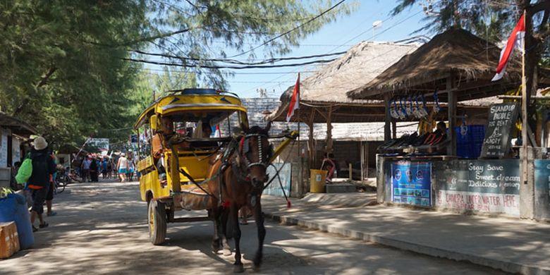 Cidomo, angkutan tradisional satu-satunya yang beroperasi di Gili Trawangan, Lombok, Nusa Tenggara Barat, Jumat (25/8/2016).