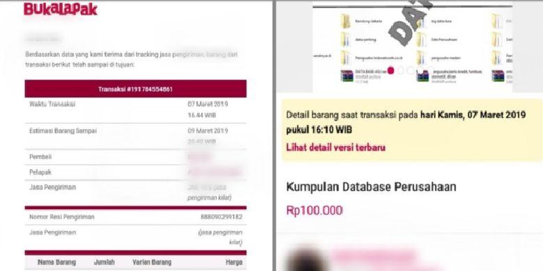 Data pribadi dijual di salah satu lapak di Bukalapak. Dari lapak itu diperoleh lebih dari 10.000 data pribadi seharga Rp 100.000.